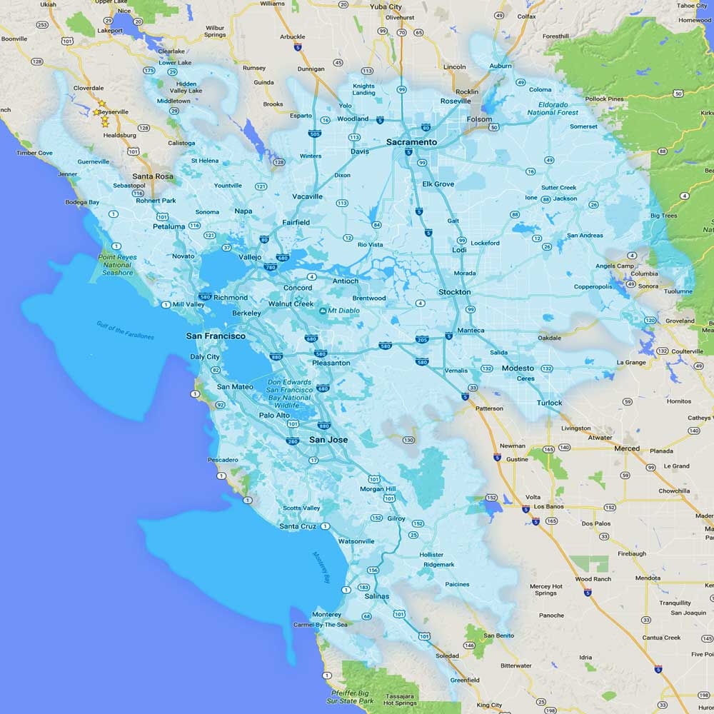 Bay Area TrboTalk Systemwide Coverage Map
